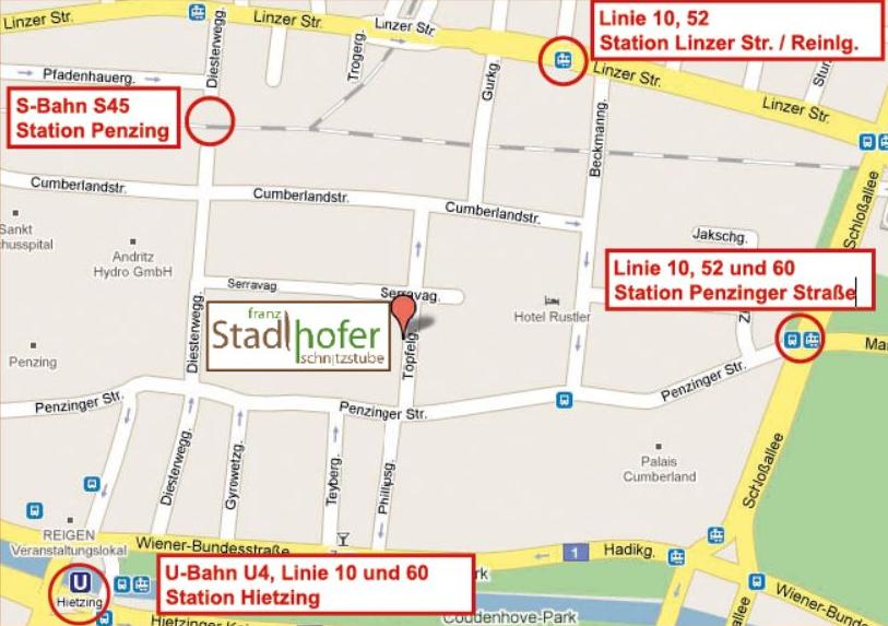 Anfahrt Schnitzstube Stadlhofer Wien - Franz Stadlhofer