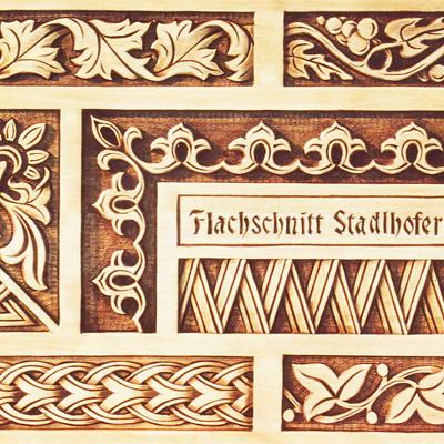 Musterbrett Flachschnitt - Schnitzstube Stadlhofer