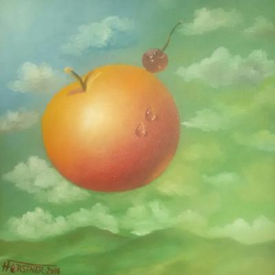 Apfel vor Himmel -Ölmalerei Herbert Forstner